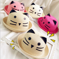 2016 New Summer Style Kids Sun Caps Straw Hat Caps Striped Beach Lovely Girl Sun Hat Baby Cat Ears Hat Caps Chapeu