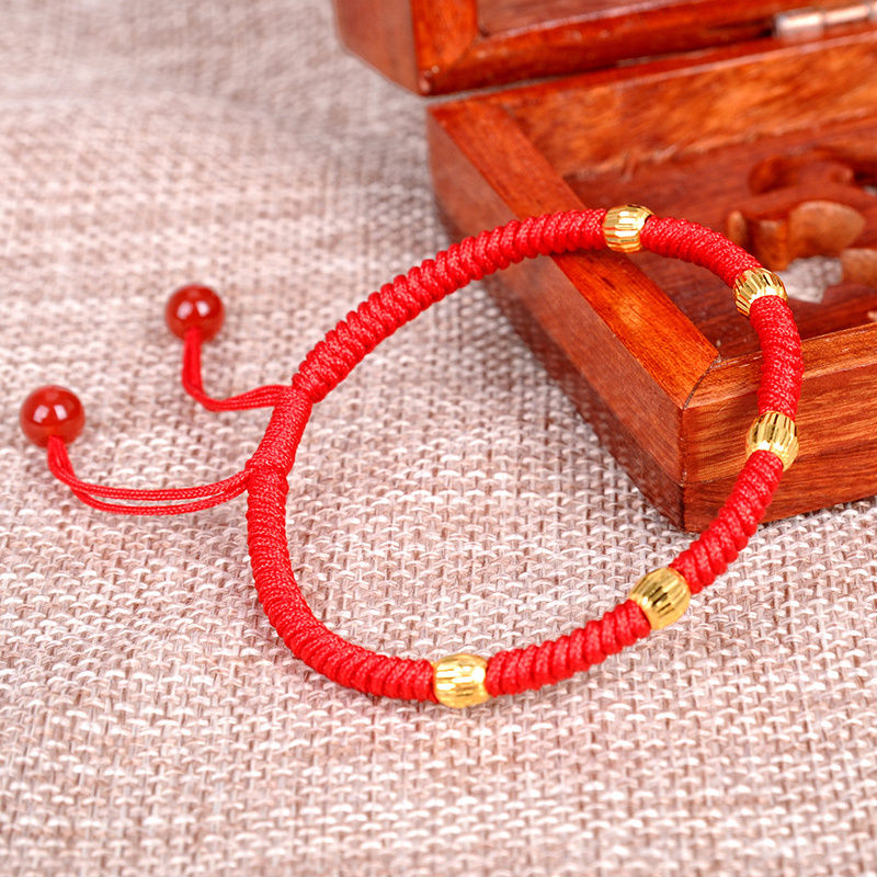 999 24K Yellow Gold Bracelet Women Red Rope Weave 5 PCS Bead Adjustable