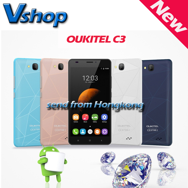 Original OUKITEL C3 3G Smartphone 5.0 inch Android 6.0 RAM 1GB ROM 8GB MTK6580 Quad Core 1.3GHz Dual SIM Mobile Phone GPS WIFI
