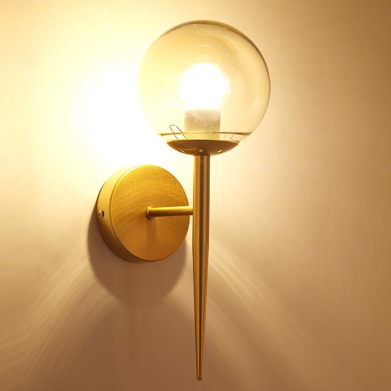 Chandelierrec post-modern LED wall lamp for living room bedroom decor lighting sconce AC90-260V gold&black glass E27 wall lights smil свитшоты толстовки