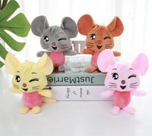 3pcs 12cm 사랑스러운 마우스 플러시 장난감 부드러운 박제 동물 미니 마우스 가방 펜 던 트 봉 제 인형 키 체인 어린이 소녀 선물