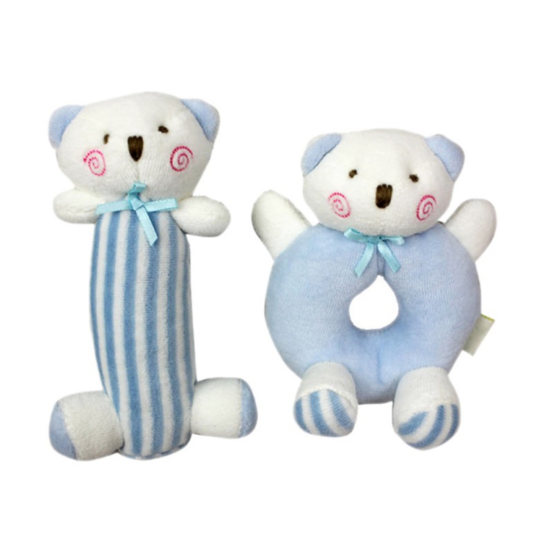 Cute Bunny Bear Circle Hand Ring Stick Rattles Suit Bow-knot Soft Plush Stuffed Toy Baby Girl Boy