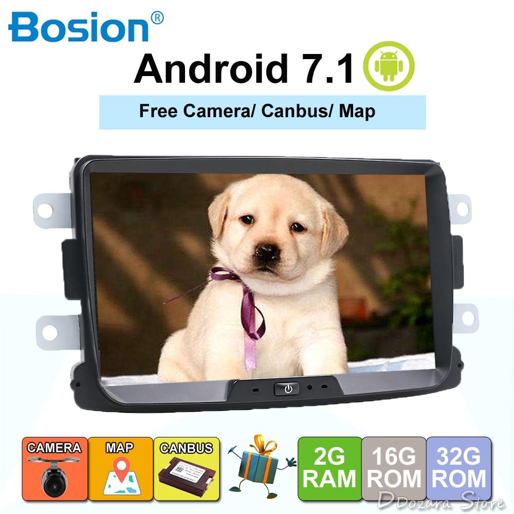 Bosion Car Multimedia player Android 7.1.1 Autoradio 2 Din Per Dacia/Sandero/Duster/Captur/Lada/ xray 2/2 Logan USB DAB