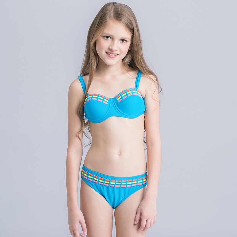 0b593cd20155 Candy Color Girls Bikini 2017 Two Piece Children Swimwear Push Up Swimsuit  For Kids Biquini Infantil