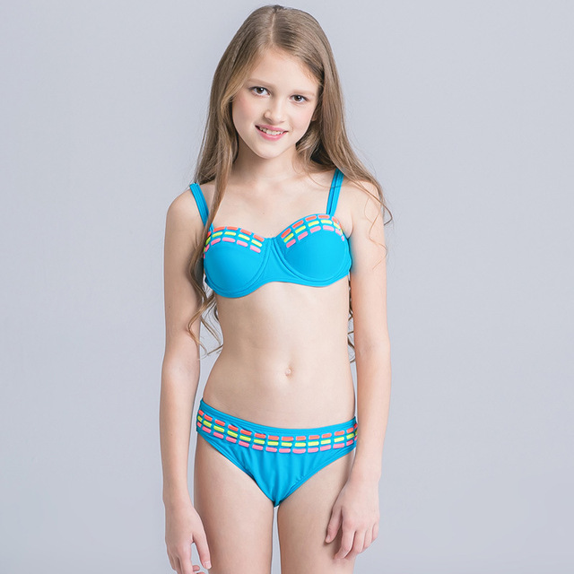 974dce9f55a7c Candy Color Girls Bikini 2017 Two Piece Children Swimwear Push Up Swimsuit  For Kids Biquini Infantil