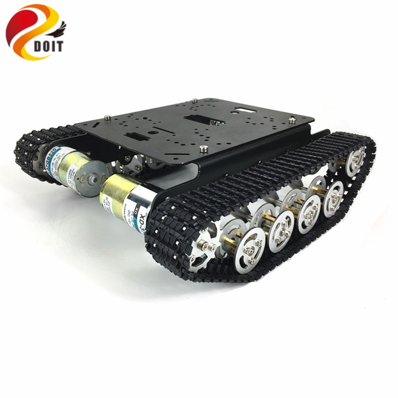 TS100 Shock Absorber Tank Car Aluminum Alloy Chassis Frame with Robotic Arm interface holes for Modification, DIY, Tank model
