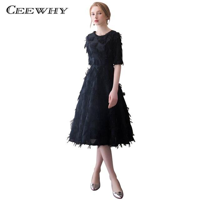 CEEWHY Half Sleeve Black Tassel Evening Dress Short Prom Dress ...