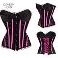 AI2210 Comeonlover Girls Sex Vertical Stripe Satin Corset &bustier Corset+G string Plus Size Steel Boned Corset Shaper Corselet