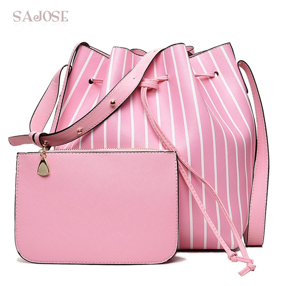 Women Crossbody Bag Fashion Stripe 2 Sets Bucket Bag Female Leather Shoulder Bag Famous Brand Designer High Quality Handbag