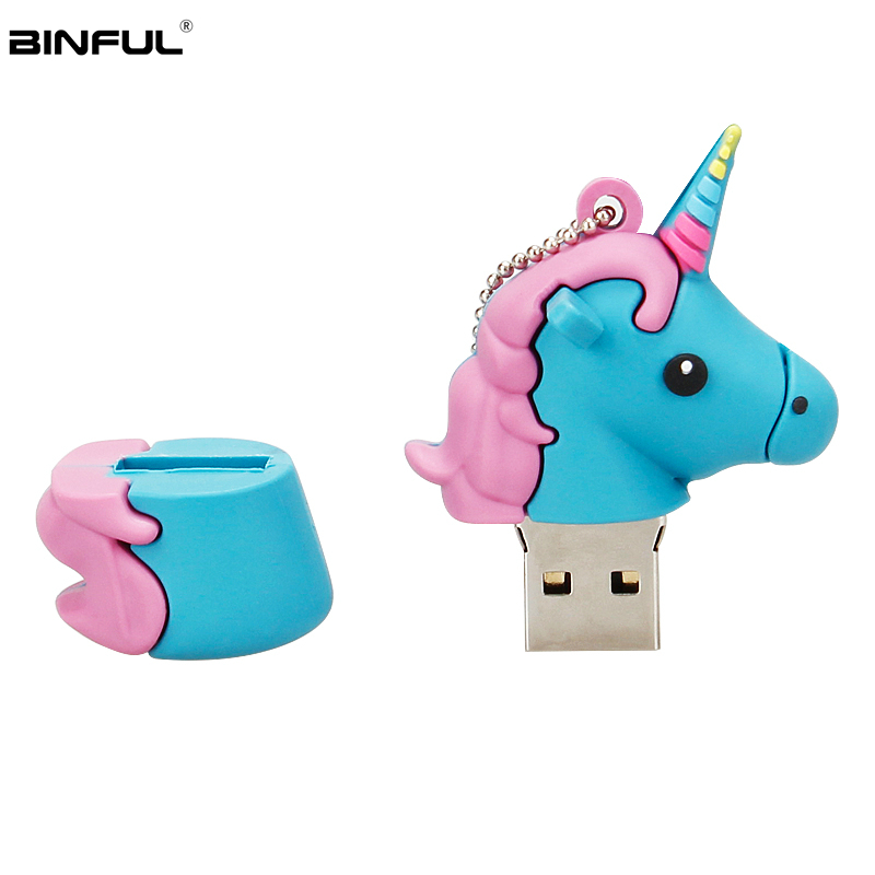 Image 4 - Silicone Cartoon Unicorn Usb Flash Drive 128GB 64GB 32GB Pen Drive Usb 2.0 16GB 8GB 4GB Flash Memory Portable Thumbdrives U Disk-in USB Flash Drives from Computer & Office
