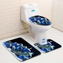 3PCS Fancy Santa Toilet Seat Cover And Rug Bathroom Set Christmas Decor GHE5China
