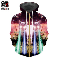 OGKB Hot Sale Mens Zip Hoodies Funny Print Galaxy Space 3D Sweatshirts Cat Flash Light Hoodie Harajuku Male Hoody Coats Overcoat