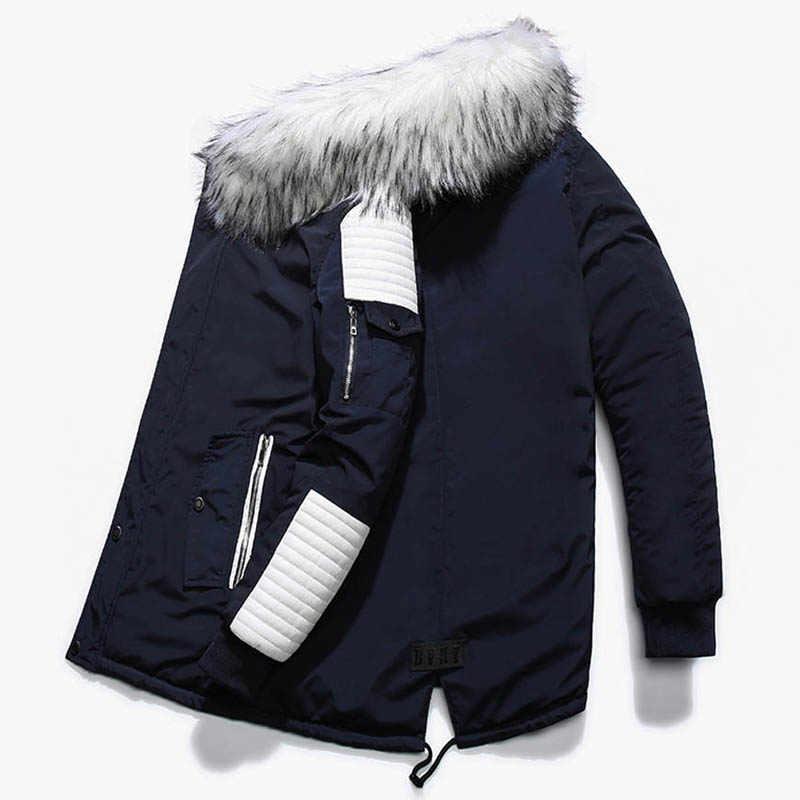 ... Дропшиппинг новая зимняя куртка мужская утолщенная теплая парка  Повседневная Длинная Верхняя одежда с капюшоном воротник куртки ... 9c562610f0c
