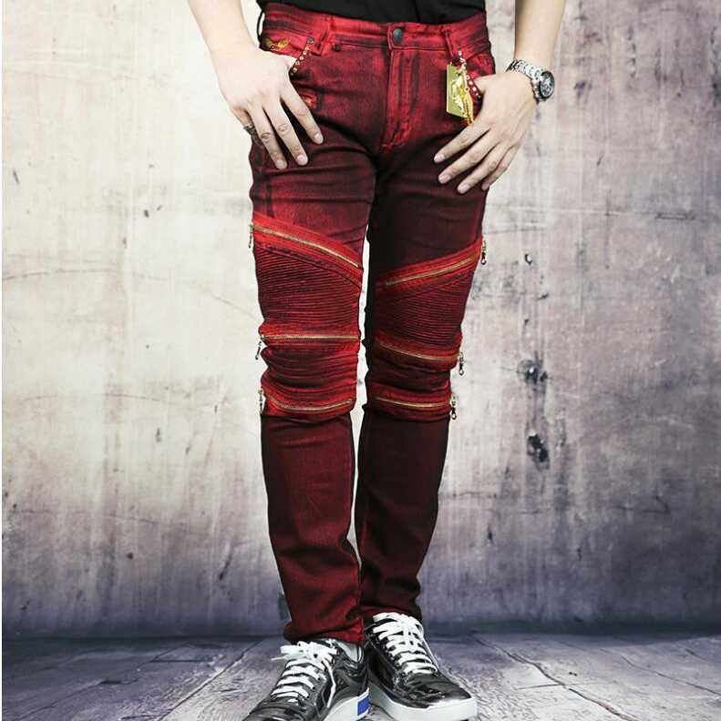 #1407 2016 Hip hop jeans Famous brand moto jeans Men biker jeans with zippers Skinny jeans Famous brand men jeans masculino