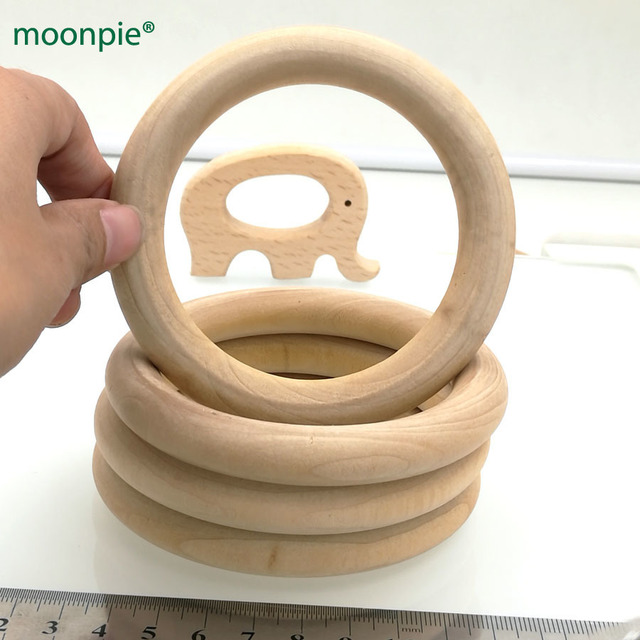 Us 17 28 9 Off 10pcs Unfinished Wood Rings Natural 3 7 Inch Wooden Rings For Crafts Teether Rattles Baby Toys Nursing Teething Necklace Wc044 In