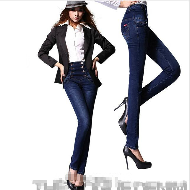 ФОТО Europe  and  America New Double-breasted Skinny  High Waist Jeans Women  Pencil Pants