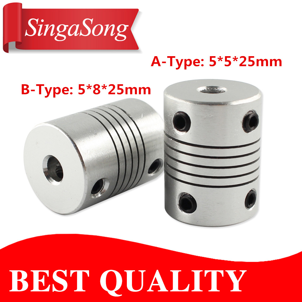 Stepper Motor 5x5x25mm 5x8x25mm Flexible Coupling 5mm 8mm Coupler /Shaft Couplings 5 mm 8mm 5Pcs/lot. flexible shaft coupling od18mmx25mm cnc stepper motor coupler connector 6 35 to 8mm
