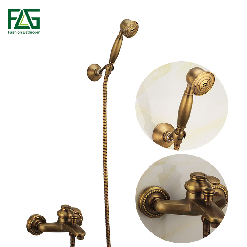 Free Shipping Antique Brass Shower Faucet Fashion Quality Copper Shower Bathroom Sanitary Ware Shower Set Bathtub Mixer Taps flg antique copper carving wall mounted shower set with ceramic fashion quality copper shower bathroom sanitary ware shower set