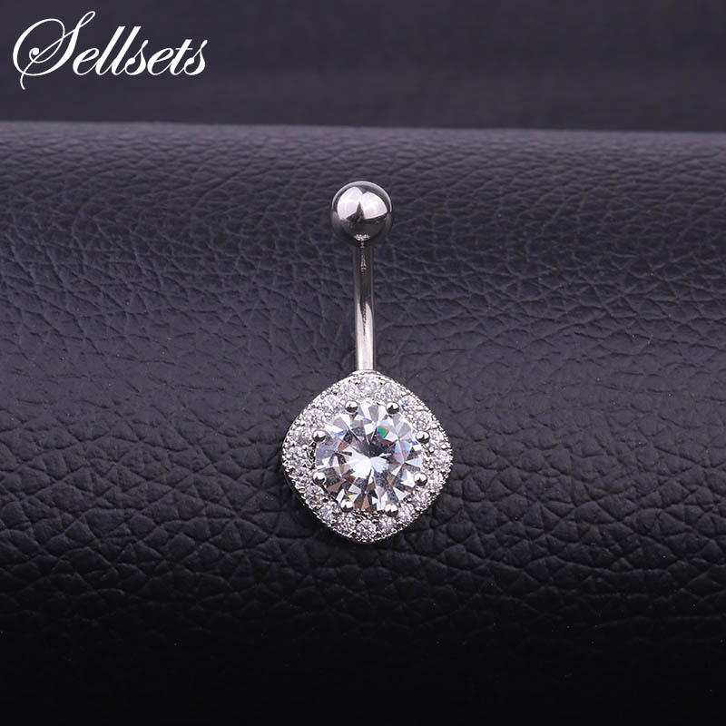 Sellsets Stainless Steel Square Shape Body Jewelry Wholesale 1pc AAA Cubic Zirconia Navel Piercing Helix Belly Button Rings