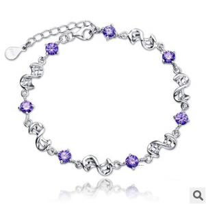 South Korea 925 silver jewelry Amethyst Hoop beans for women bracelets  bangles wholesale trade Free Shipping como vestir con sueter mujer