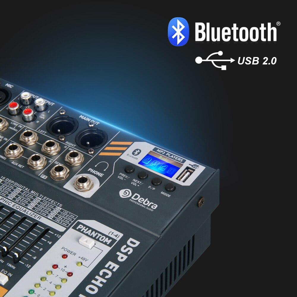 Debra Audio Sauberen klang! pro EVA-12 12 Kanäle Audio Mixer dj consoler mit 48V Phantom Power USB Bluetooth für Aufnahme Bühne