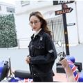 2017 jaquetas jeans preto mulheres buraco namorado estilo manga longa jaqueta jeans vintage denim solto primavera outono denim casaco jean