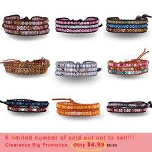 Joyería farlena, pulseras de cuero Vintage, abalorios naturales multicolores, pulseras envolventes de 2-3 filas, pulseras bohemias para hombres y mujeres