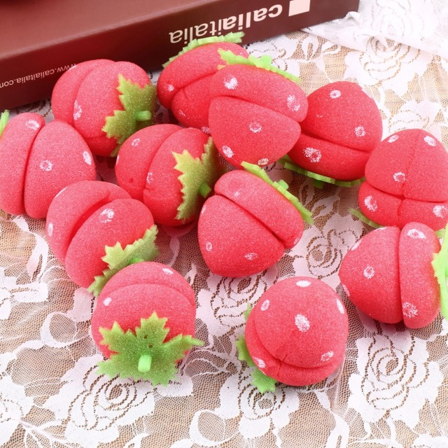 12pcs Strawberry Balls Hair Care Soft Sponge Rollers Curlers Lovely DIY Tool Personal Lovely Hair Styling Curlers Tools Hot Sale
