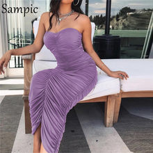 Sampic Strapless Bodycon Women Dress Backless Sexy Party Night Club Dresses Sleeveless Purple Black Neon White Summer Midi Dress(China)