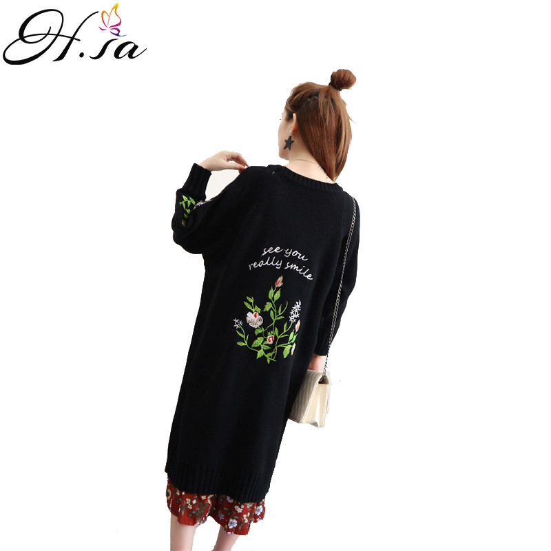 H.SA 2017 Autumn Winter Long Sweater Cardigans American Apparel Embroidery Oversized Cardigans Feminino Folwer Long Knitted Coat
