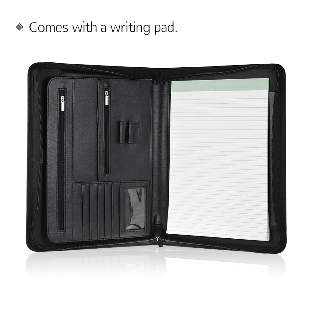 A4 Document Folder Professional Zippered Multifunctional Organizer For Document with Writing Pad Card Pocket for Business Office(China)