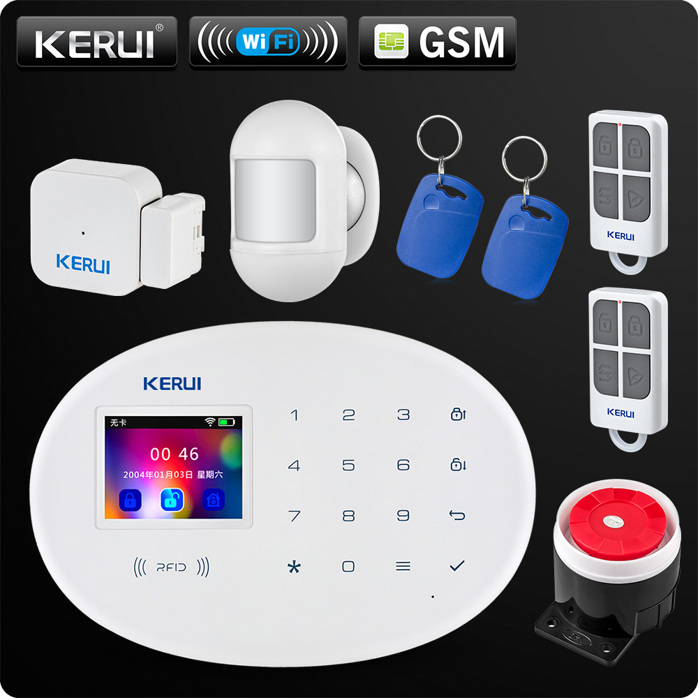 KERUI W20 New Model Wireless 2.4 inch Touch Panel WiFi GSM Security Burglar Alarm System APP RFID Mini Movable PIR Sensor Siren 1