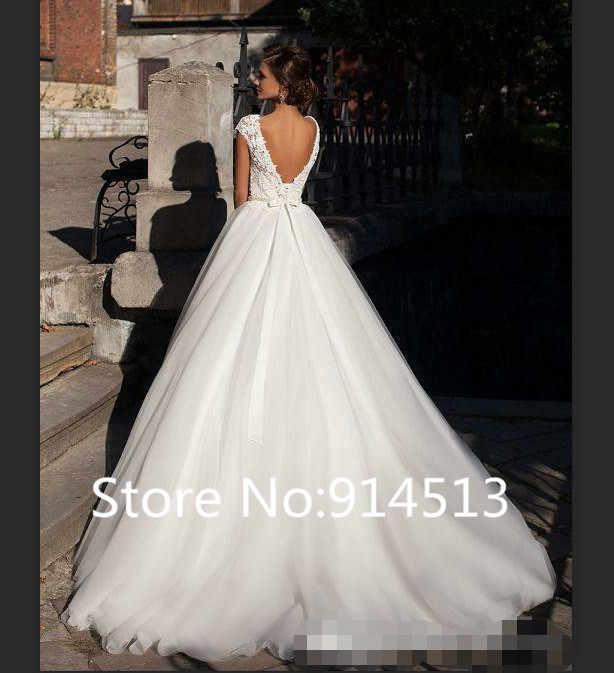 Атласное свадебное платье с коротким рукавом и кружевной аппликацией, бальное платье с глубоким вырезом, свадебные платья с глубоким вырезом на спине размера плюс