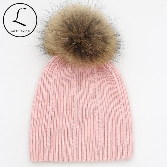 GZHILOVINGL Green Beanies Cap Small Braids Striped Winter Hats Wool Crochet Hat With Raccoon Fur Pom-pom Solid Gorros 16523G1