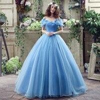Stock BlueTulle Appliques Deluxe Cinderella Party Dresses Bandage Ball Gown Evening Gown robe de mariee Vestido de novia