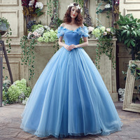 Stock Blue New Movie Deluxe Adult Cinderella Wedding Dresses Bandage Ball Gown Wedding Gown Bridal Dress1207G