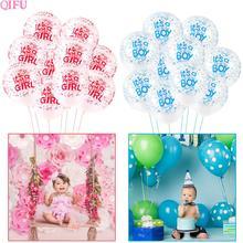 QIFU Its a Girl Balloons Birthday Ballons Boy Baby Shower Confetti Baloons Happy Decorations Kids
