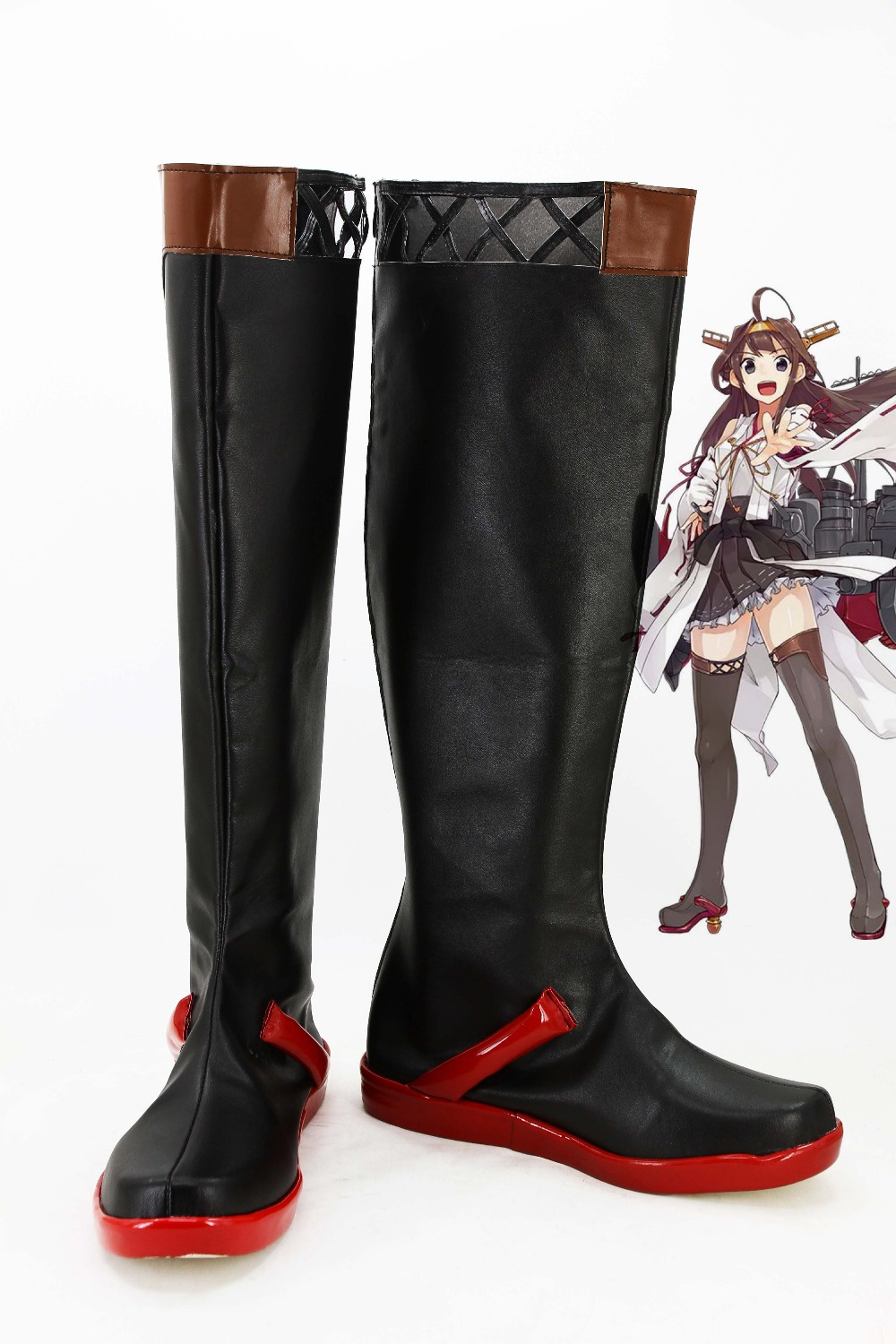 Black Kongou Cosplay Shoes Anime Kantai Collection KanColle Long Boots For Halloween Christmas Festival For Women Girls