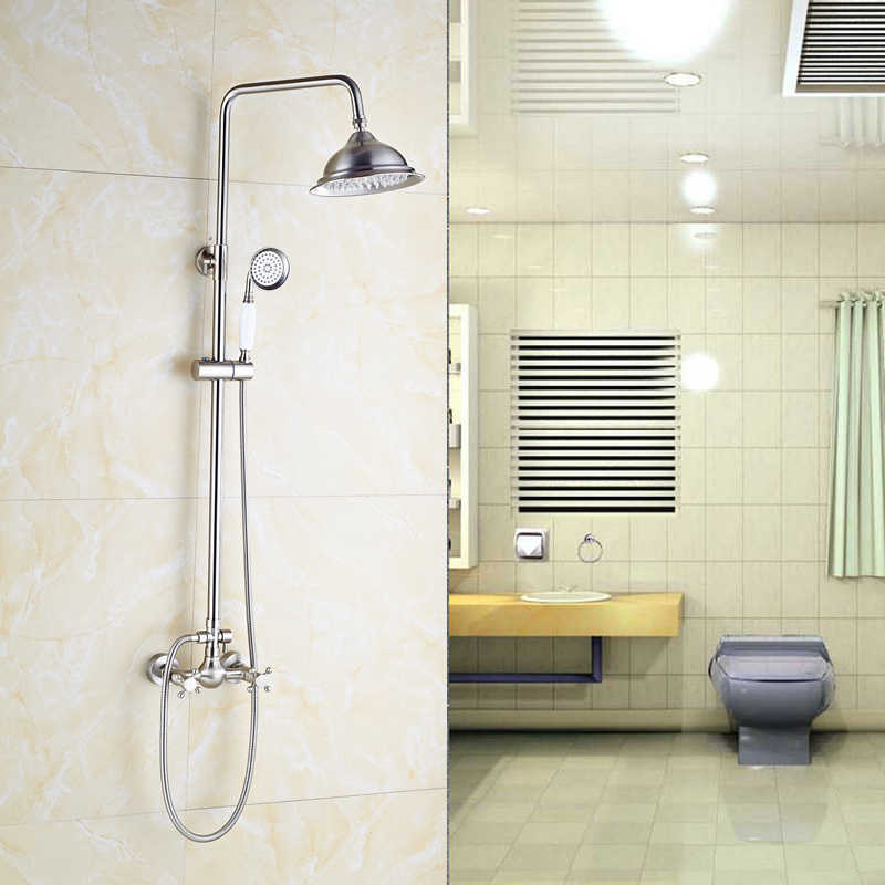 Wholesale and Retail Brushed Nickel Shower Mixer Faucet with 8 Brass Shower Head