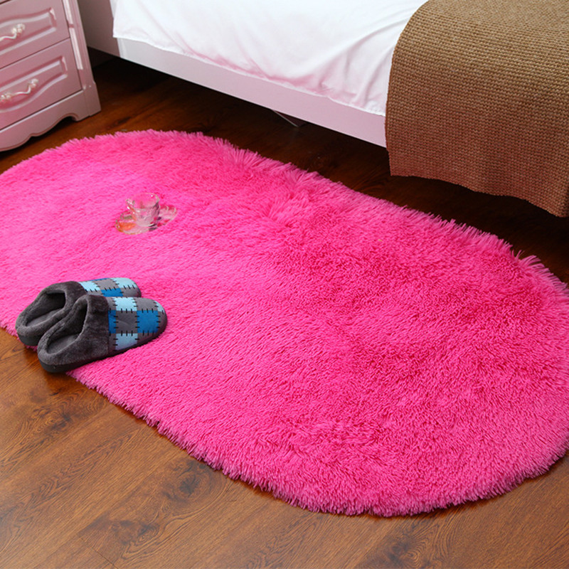 Fashion Pink Red Carpets Silk Wool Fabric Oval Rug Living Room Oval ...