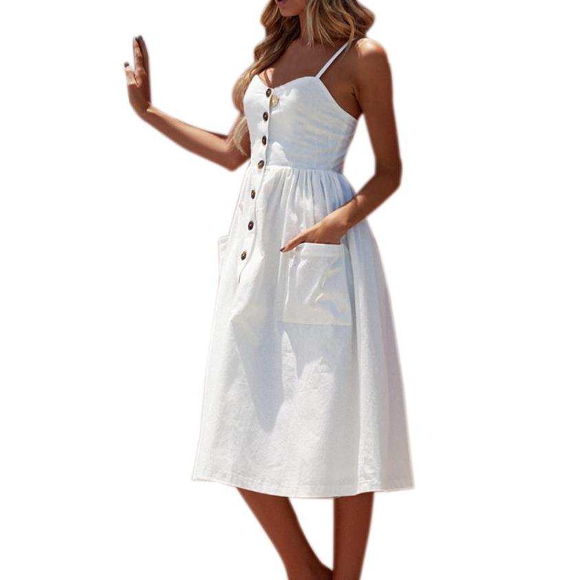 Summer Dress Women <font><b>Sexy</b></font> <font><b>vestidos</b></font> <font><b>verano</b></font> <font><b>2018</b></font> Button robe femme Sleeveless Female Strapy Solid Casual Dresses Dropship #TH image