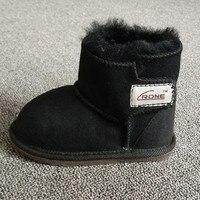 Otoño y el invierno de la zalea Pieles de animales Botas de nieve para niños slip-on niño Zapatos caliente Niños Niñas tobillo sneakers negro al por mayor marrón