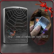 ใหม่ในกล่อง!เงินเย็นแมงมุมออกแบบW Indproof Flamelessซิการ์บุหรี่อิเล็กทรอนิกส์USBชาร์จไฟแช็ค