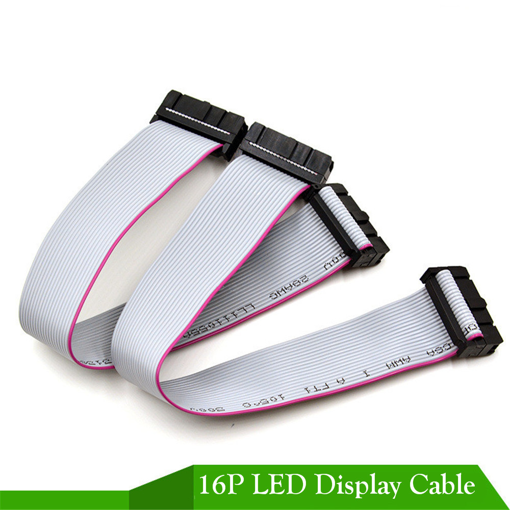 10pcs/lot Pure Copper 18-20cm 16P Long Flat Wire/ Hub Cable Pure Copper Data Cable For LED Display ,single-color Full-color Sign