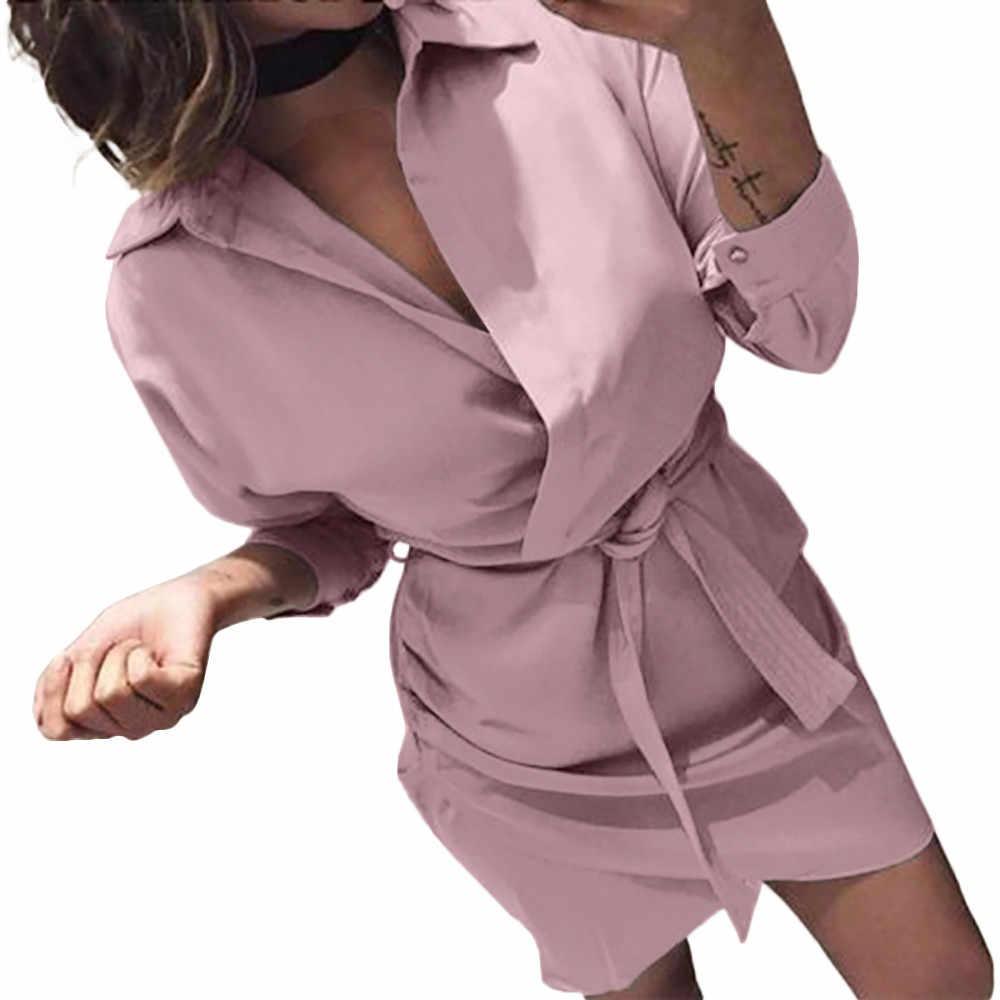 Shirt Mode Zomer Vrouwen Jurk Herfst Jurk Lange Mouwen Turn-Down Kraag T-shirt Jurk 4 Kleur Casual Mini kantoor Jurk