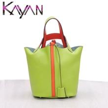 Luxury Brand Bucket Bag Fashion Genuine Leather Women Large Capacity Silk Scarf Handbag Classical Design Shopping