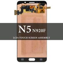 Untuk Samsung GALAXY Catatan 5 LCD 5.7 Inci N9200 N920F Hitam Abu-abu Tampilan Layar AMOLED Digitizer Penggantian Suku Cadang