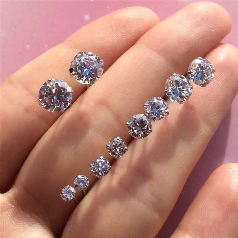 925 Sterling Silver Earring Classic Fashion 3mm 4mm 5mm 6mm Four Claws Zircon Stud Earrings For Women Men Gift Oorbellen B32-5