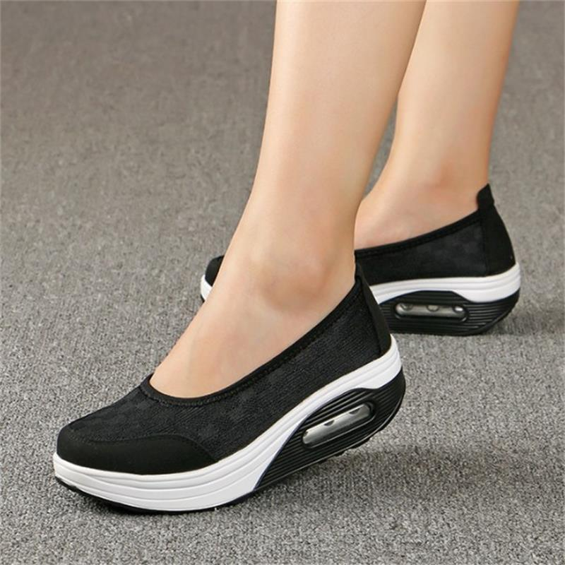 Big size 35-42 Women Sneakers Air Mesh Flats Shoes Comfortable Flat Platform Daily Shoes Basic Outwear Femail Shoes YD938 instantarts spring women air mesh flat shoes breathable golden retriever shiba inu flower sneakers woman casual flats big size