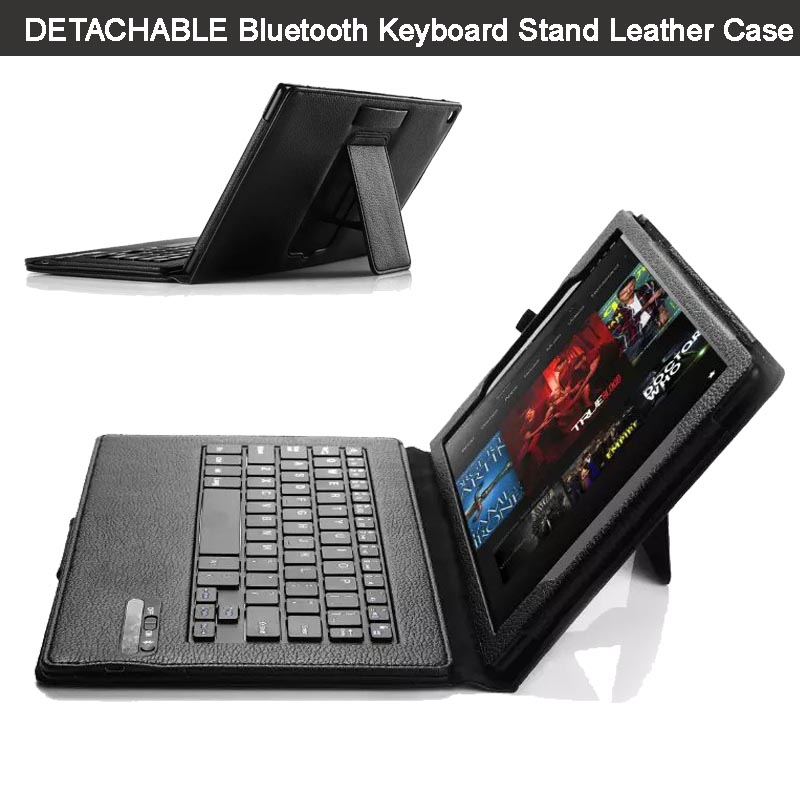 ФОТО Ultra-Thin High Quality DETACHABLE ABS Bluetooth Keyboard Stand Portfolio Leather Case/ Cover for Amazon Fire HD 10